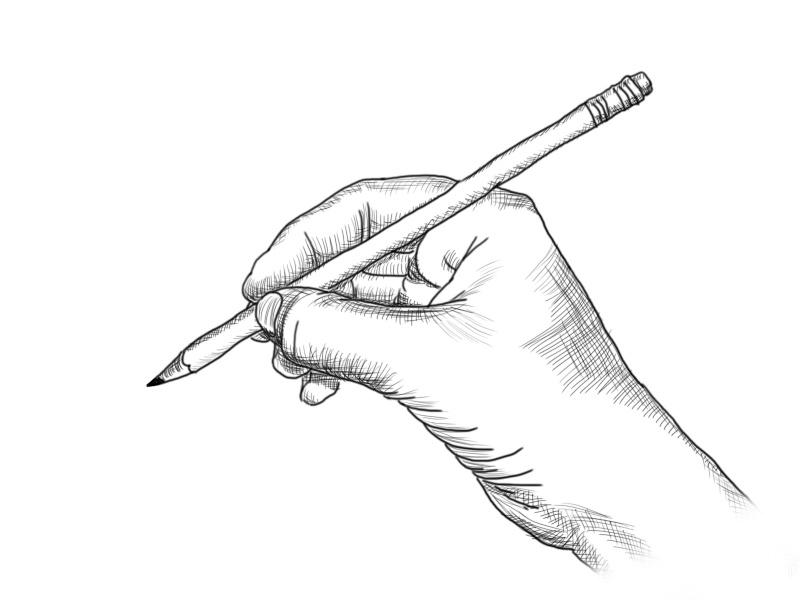 Comment dessiner un crayon - Main dessin crayon ...